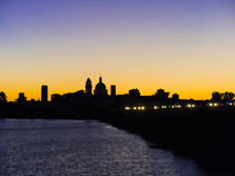 Mantua silhouette at sunset, Italy Stock Photo