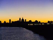 Mantua silhouette at sunset, Italy Stock Photo