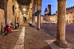 Mantua Square Portico Cobble Sunset Royalty Free Stock Images