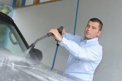 Mantvagningbil med pressat vatten royaltyfria foton