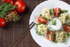 Manty με το κρέας Στοκ εικόνες με δικαίωμα ελεύθερης χρήσης