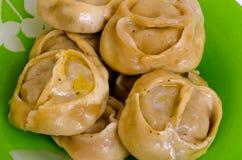 Manty, mantu или buze, позиции - традиционное мясное блюдо  Стоковая Фотография