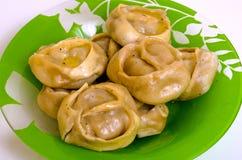 Manty, mantu или buze, позиции - традиционное мясное блюдо  Стоковые Изображения