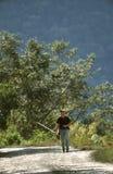 Manu Road, Peru. Vogelaar op Manu Road; Birder on the Manu Road stock photo