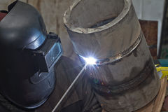 Manual arc welding exam sample stainless steel pipe Royalty Free Stock Image