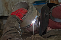Manual arc welding exam sample stainless steel pipe Stock Photography
