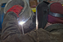 Manual arc welding exam sample stainless steel pipe Royalty Free Stock Photography