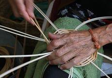 Artisan basketry. Manual and artisan work of basketry stock photo