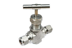 Manual ball valve or stainless steel ball valve  on white background Stock Image