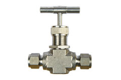 Manual ball valve or stainless steel ball valve  on white background. Valve for oil and gas process or high pressure process, Instrument supply equipment for Stock Photos