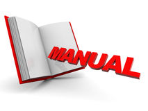 Manual book. 3d illustration of opened book with text 'manual', over white background vector illustration