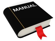 Manual book. Rendered black manual book with white background stock illustration