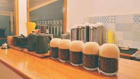 Manual Brewing Bar. Full coffee beans manual brewing bar stock photos