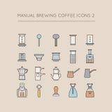 Manual Brewing Coffee Icons 2. Coffee icon set, especially for manual brewing needs. Some variations like press, moka pot, walkure pot, eva solo, rok presso Stock Photos