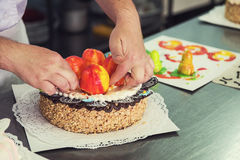 Manual cakes production Royalty Free Stock Images