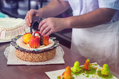 Manual cakes production Royalty Free Stock Photography