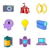 Manual camera icons set, cartoon style. Manual camera icons set. Cartoon set of 9 manual camera vector icons for web isolated on white background Stock Photos