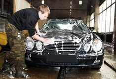 Manual car washing Stock Images