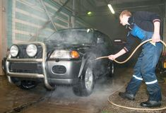 Manual car washing Stock Photos