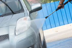 Manual car washing cleaning Royalty Free Stock Photos