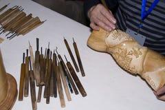 Manual carving royalty free stock photo