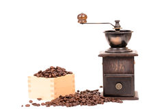 Manual coffee grinder and coffee bean Stock Photo