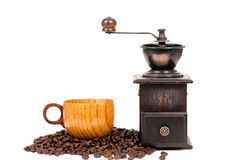 Manual coffee grinder and coffee bean Stock Image
