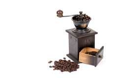 Manual coffee grinder and coffee bean Royalty Free Stock Photo