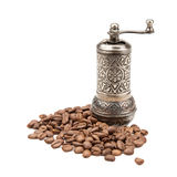 Manual coffee grinder and coffee beans Stock Photos