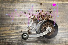The manual coffee grinder contains coffee beans with a line diagram of the high and low heart beat rate. Heart healthcare concept. The manual coffee bean grinder stock photos
