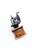 Manual coffee-mill. Isolated object in a form of manual coffee-mill with white background Royalty Free Stock Image