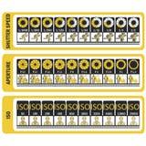 Manual da fotografia Cábula do ` s da câmera ISO, velocidade do obturador, ap Imagens de Stock Royalty Free
