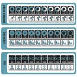Manual de la fotografía Chuleta del ` s de la cámara ISO, velocidad de obturador, ap ilustración del vector