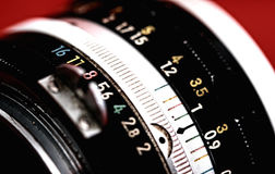 Manual focus SLR vintage lens Royalty Free Stock Images