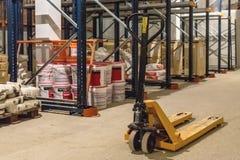 Manual forklift pallet stacker truck equipment Stock Photos