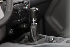 Manual gear shift. Mauelnog shift lever in the passenger car stock photos