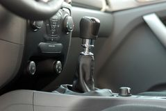 Manual gear shift. Mauelnog shift lever in the passenger car stock image