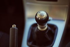 Manual gear stick. 6 speed manual gearbox shift stock photography