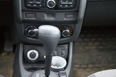 Manual gearbox in the car macro black . stock photos