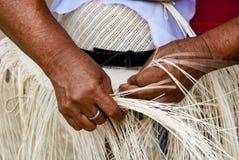 Manual Hat Weaving Process Royalty Free Stock Photo