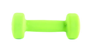 Manual horizontal green dumbbell isolated Royalty Free Stock Photography