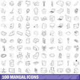 100 manual icons set, outline style. 100 manual icons set in outline style for any design vector illustration Vector Illustration