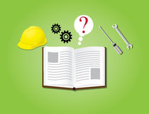 Manual instruction book with books gear helmet helm secure Royalty Free Stock Photos