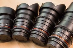 Manual interchangeable lenses for digital cameras. Equipment for video shooting with digital SLR cameras.  Stock Image