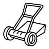 Manual lawnmower icon, outline style vector illustration