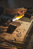 Manual manufacture of glass Stock Photo