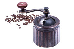 Manual mechanical metal coffee grinder. Studio Photor Royalty Free Stock Photos