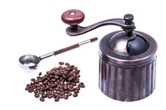 Manual mechanical metal coffee grinder. Studio Photor Stock Photo