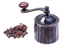 Manual mechanical metal coffee grinder. Studio Photor Royalty Free Stock Photography