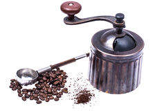 Manual mechanical metal coffee grinder. Studio Photor Royalty Free Stock Photo